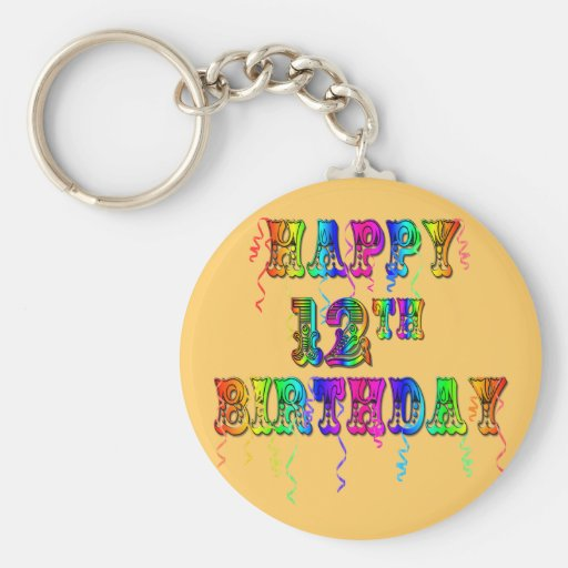 Happy 12th Birthday Gifts and Birthday Apparel Keychain