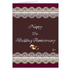 Happy 13th. Wedding Anniversary Lace Card