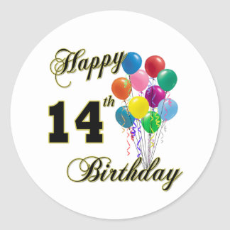 Happy 14th Birthday Gifts and Birthday Apparel Classic Round Sticker