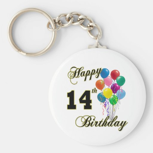 Happy 14th Birthday Gifts and Birthday Apparel Key Chain