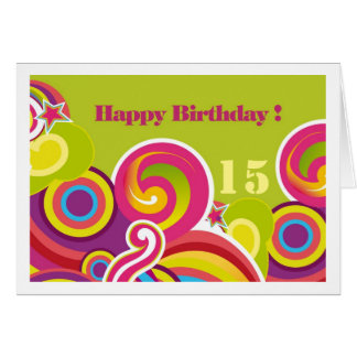 Happy 15th Birthday. Colorful Circles Custom Cards