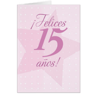 Happy 15th Birthday, Spanish, Quinceanera, Pink St Greeting Card
