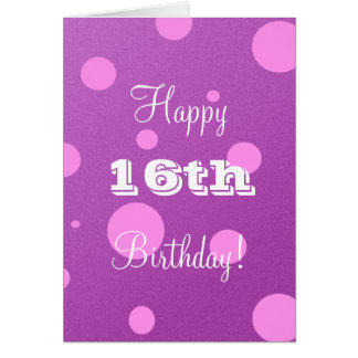 Happy 16th Birthday Card for Girl