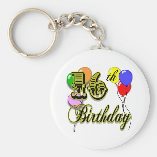 Happy 16th Birthday Gifts and Birthday Apparel Key Chains