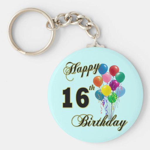 Happy 16th Birthday Gifts and Birthday Apparel Key Chain