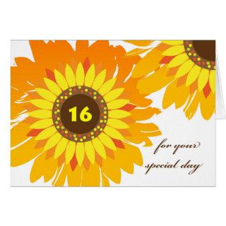 Happy 16th Birthday, Sunflowers Design Card