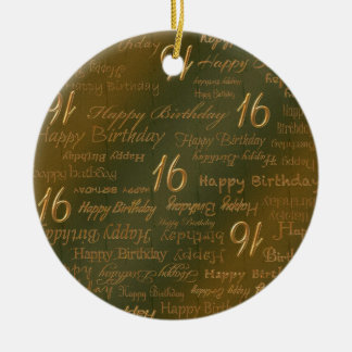 Happy 16th Birthday Weathered Brass Round Ceramic Ornament