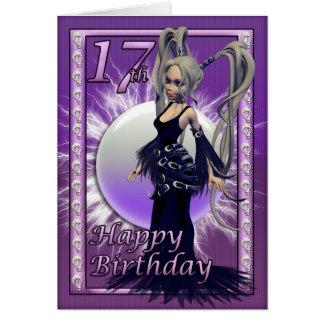 Happy 17th Birthday Gothic Doll Female, Cute Card
