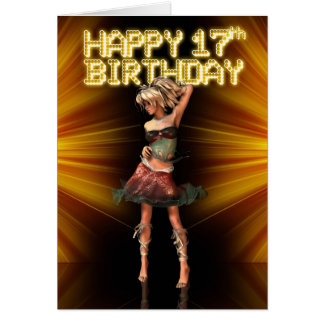 Happy 17th Birthday Teenager star on the stage dev Card