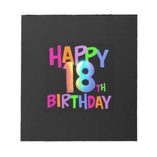 HAPPY 18TH BIRTHDAY MULTI COLOUR NOTEPAD