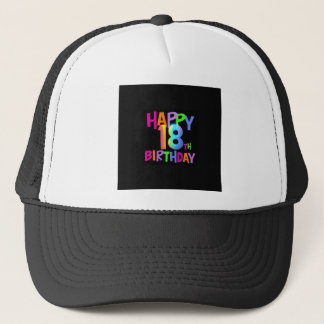 HAPPY 18TH BIRTHDAY MULTI COLOUR TRUCKER HAT
