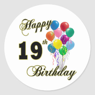 Happy 19th Birthday Merchandise Round Sticker