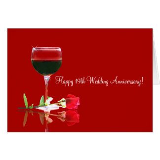 Happy 19th Wedding Anniversary Card with Wine