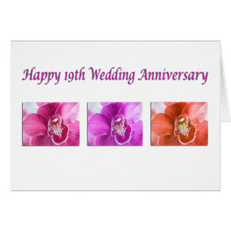 Happy 19th Wedding Anniversary Orchids Card