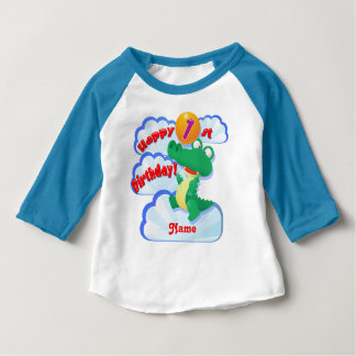 Happy 1st Birthday Alligator Balloon Custom Baby T-Shirt