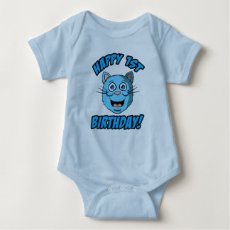 Happy 1st Birthday Blue Cat Clothes Baby Bodysuit