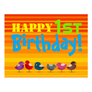 Happy 1st Birthday Cartoon Birds Colorful Bright Postcard