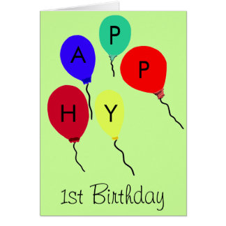 Happy 1st Birthday Colorful Flying Balloons Card