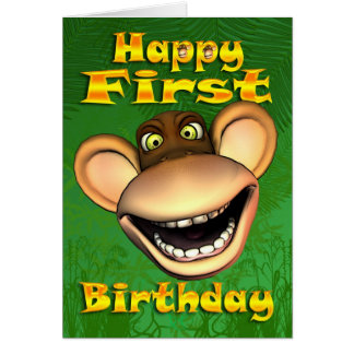Happy 1st Birthday Monkey Banana bday card