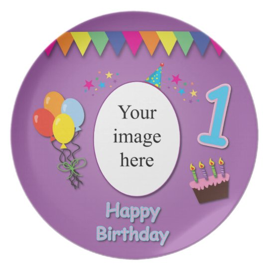 Happy 1st Birthday Plate with Your Photo
