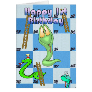Happy 1st Birthday Snakes and Ladders Card