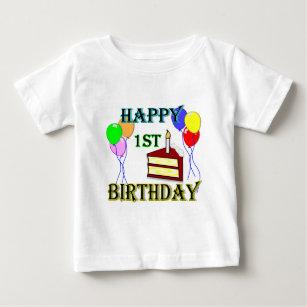 Happy 1st Birthday T Shirt With Cake