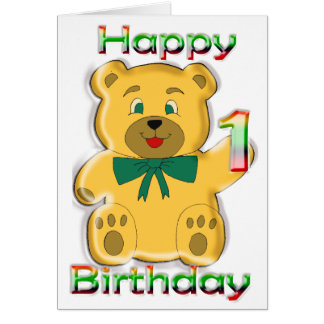 Happy 1st Birthday Teddy Bear Card