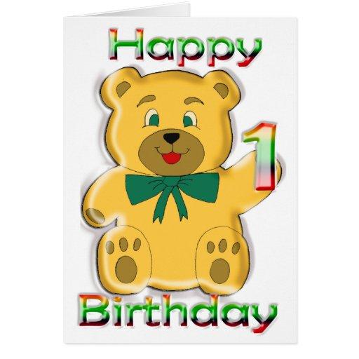 Happy 1st Birthday Teddy Bear Card