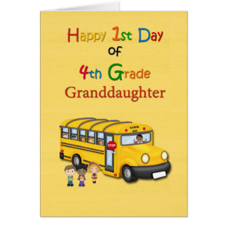 Happy 1st Day of 4th Grade Grandson School Bus Greeting Card