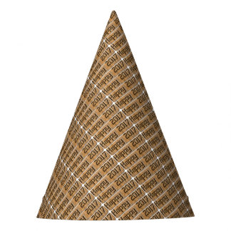 Happy 2017 Engraved  Rustic Brown Typography Party Hat