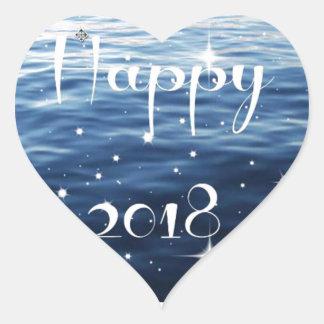 Happy 2018 heart sticker