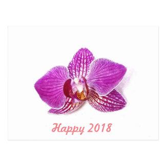 Happy 2018, Lilac phalaenopsis floral watercolor Postcard
