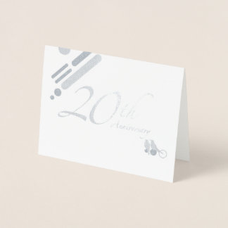 Happy 20th Anniversary Mod Birds Foil Card