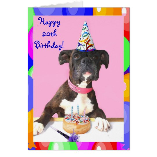 Happy 20th Birthday Boxer dog greeting card