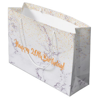 Happy 20th Birthday elegant marble faux glitter Large Gift Bag