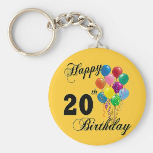 Happy 20th Birthday Gifts and Birthday Apparel Key Chains