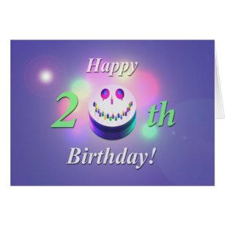 Happy 20th Birthday Smiley Cake Card
