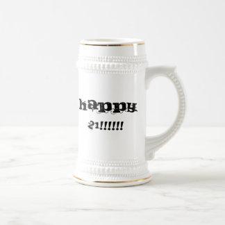 happy 21 beer stein