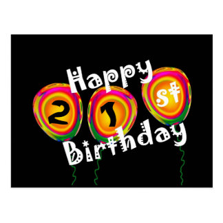 Happy 21st Birthday Colorful Balloons Postcard