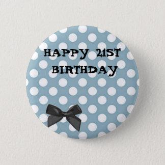 Happy 21st Birthday Pale Blue Polka Dot Art 2 Inch Round Button