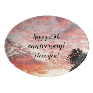 Happy 25th Anniversary Beautiful Sky Sunset Design Porcelain Serving Platter