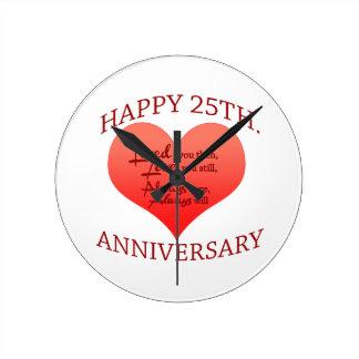 Happy 25th Anniversary Wall Clock
