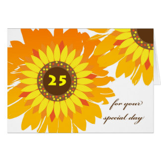 Happy 25th Birthday, Sunflowers Floral Design Card