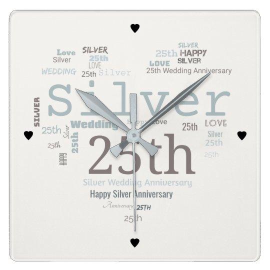 Happy 25th Silver Wedding Anniversary Word Cloud Square Wall Clock