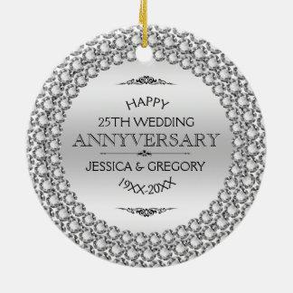Happy 25th Wedding Anniversary Diamonds & Silver Round Ceramic Ornament