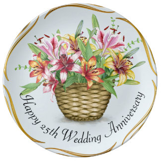 Happy  25th Wedding Anniversary Porcelain Plate