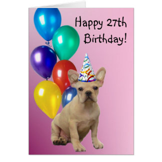 Happy 27th birthday French Bulldog greeting card