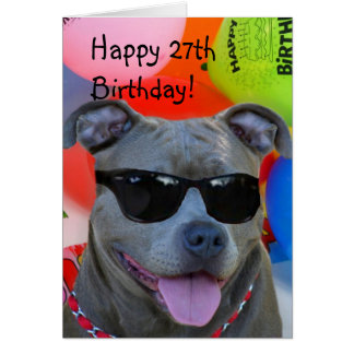 Happy 27th Birthday Pitbull greeting card