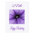 Happy 27th Birthday purple Blossom Postcard