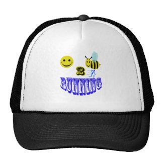happy 2 bee running. trucker hat